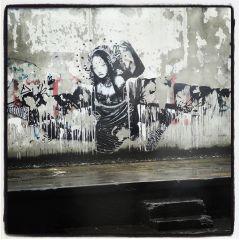 rio street rain graffiti woman black & white