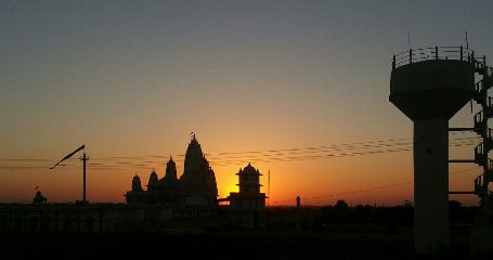 sunset silhouette temple india travel
