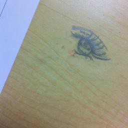 desk drawing eye weird in school vandalism