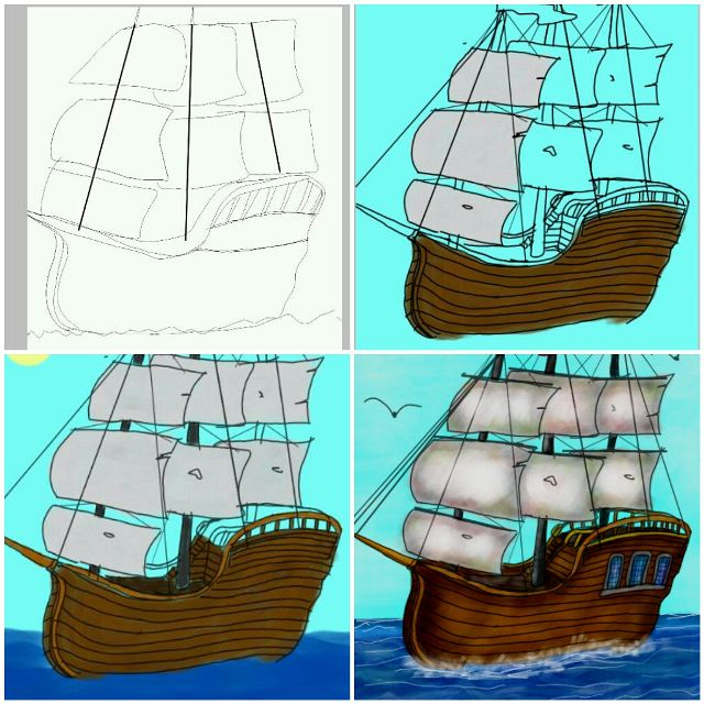 draw a ship step by step