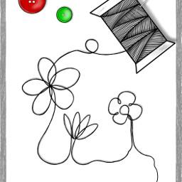 black & white color splash drawing thread