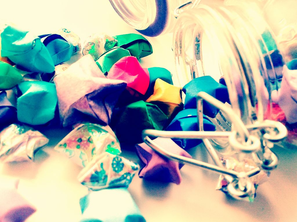 I remember making these little origami stars years ago ^0^  #bottle  #origami  #stars  #wishes