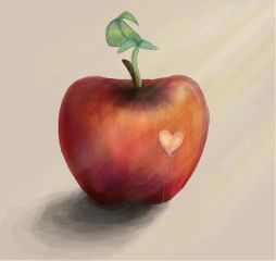 apple draw colorful love