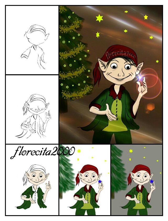 how to draw an elf step by step